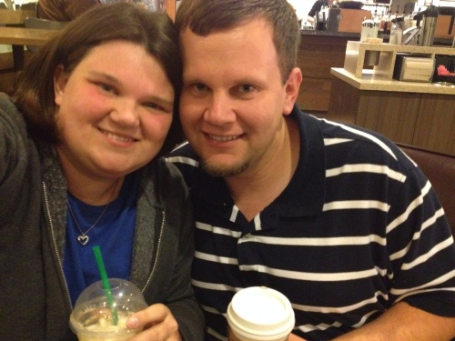 Celebrating at the same Starbucks where we first met!